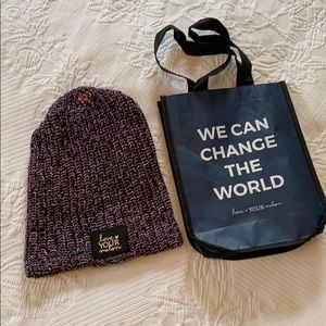 Love Your Melon knit hat, OS, with reusable tote